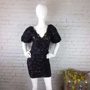 Revolve Saylor ruched lace puff sleeve dress